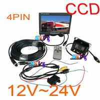"DHL 12V-24V Waterproof CCD Reverse Backup Camera 4PIN+ 7"" LCD Monitor Car Rear View Kit Free 10m cable For BUS TRUCK VAN"