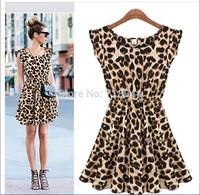 HOT!!Cheap Good Quality Casual Dress Leopard Print Microfiber Summer Dress Women Ruffles Dresses S-XXL
