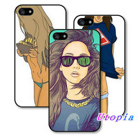 Hot Sale New Arrive Painted One Piece for nike t-shirt flirt Sexy Girl hard cover phone cases for iPhone 4 4S 5 5S free shipping