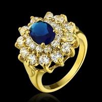 Luxury Zircon austrian Crystal Women Accessories 18k gold Ring sapphire ruby  joias vintage jewelry bague women fashion rings