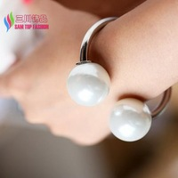 2014 christmas gift fashion Gold Silver metal designer Double big simulated pearls women bangle & bracelets bijoux SMALL HAND