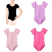 2014 New Kids Girls Dancewear Short Sleeve Ballet Costume Bodysuit Leotards Cotton Ballet Clothes For Girls Free Shipping