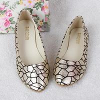 Free shipping Bling Bling women's bright snake print flat shoes, 35~41 Plus size
