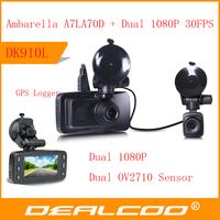 2014 New In Stock Original Car DVR Recorder DK910L Ambarella A7L70D + Dual camera Full HD 1080P + GPS Logger + G-Sensor + LDWS