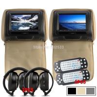 2PCS 7 Inch Beige Car  DVD Headrest Monitor DVD Player  MP3 USB SD HD LCD - Beige + Free Wireless Headphone + game handles