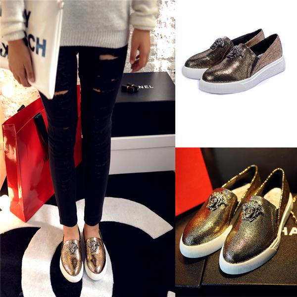 2014 frauen aus echtem leder schädel fishman slipper Brand silber gold sapatos ballerinas bootsschuhe marke designer-schuhe