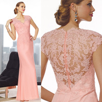 Free Shipping Gorgeous Sheath V-neck Lace Floor-Length Elegant Cap Sleeve Mother of the Bride Dress New Arrival