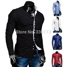 2014 outono Casual camisa para homens macho marca novo luxo elegante moda Slim Fit de alta qualidade camisa camisas de manga longa(China (Mainland))