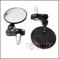 Pair Motorcycle CNC Aluminum Rearview Mirror Handle bar End Black Side Mirror