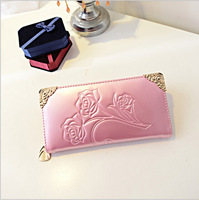 The new Miss Qian Bao patent leather embossed roses Miss Qian Bao Long Wallet Clutch Purse Wholesale