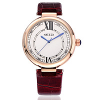 KEZZI Brand Leather Strap Gold Case Fashion Watch Analog Display Quarz  2 Colors Luxury Women Casual Watch