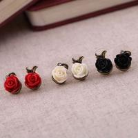 3 Color Fashion Korea Beautiful Retro Rose Flower Earrings Boucles D'oreille Jewelry Brand Women's  Wholesale Free Shipping PT31
