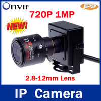 1280 * 720P 1.0MP mini IP Camera ONVIF 2.0 2.8-12mm manual varifocal zoom lens P2P Plug and Play With bracket