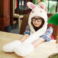 Korean cartoon rabbit winter super warm cashmere scarves hats gloves one super adorable hooded scarves