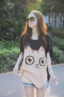 2014 new summer big yards Korean loose short-sleeved t-shirt tide on women ladies shirt dress fat  cute bat