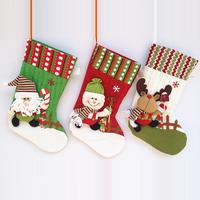 "Christmas Socks,3 pcs a lot 20"" Indoor Christmas Hanging Stockings Decoration Santa Deer  Claus Snowman,Drop Shipping,SHB104"