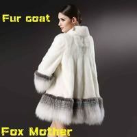 2014 new hot sale women autumn winter fox fur coat outwear U.S. small cross fox mother mink fur coat genuine mink coat in
