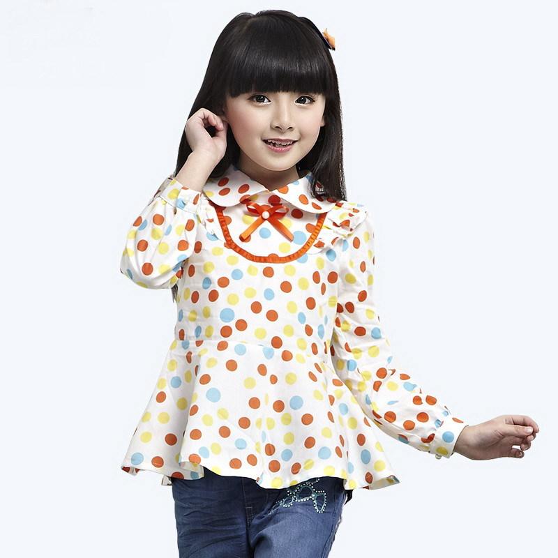 Children's clothing blouses 2014 autumn female child shirt long-sleeve big boy dot design long girls shirt(China (Mainland))