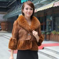 Haining 2014 Cotton Flax free postage plus Rex rabbit fur coat fox fur collar women short paragraph temperament fur coat