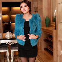 Haining 2014 Free Post Dongkuan rabbit fur coat women's fur fight Pippi grass short paragraph coat