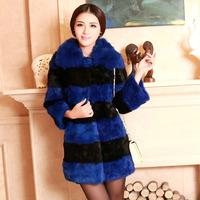 2014 Free Mail Cotton Flax plus fox fur collar rabbit fur coat fashion long section of mosaic Coats