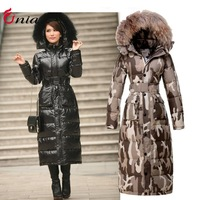 S-XXL new 2014 winter women down jacket Camouflage longer thicker down jacket super cold-proof down coat outerwear # 6716