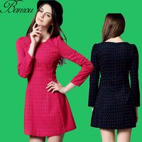 American Vintage Wool Waistes Dress Womens Fitted Slim Long Sleeve A Line Wollen Dresses Winter Skater Mini Dress Basics