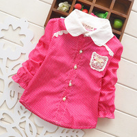 Hot Sale New 2014 Baby/Kids Spring/Autumn Clothes, Long Sleeved Infant Cute and Elegant Cotton Tops/Shirts/Bloues with Lace F15