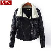 New 2015 fashion winter PU leather jacket women slim big wool collar casual coat jaqueta feminina outdoor coat