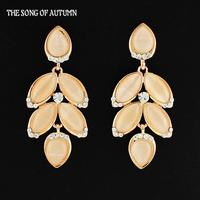 2014 Hot Selling Artificial Full rhinestone Gemstone Dangle Earrings Fashion Jewelry Drip Leaves Long Drop Earrings For Women