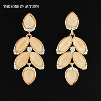 2014 Hot Selling Artificial Full rhinestone Gemstone Dangle Earrings Fashion Jewelry Drip Leaves Long Drop Earrings For Women
