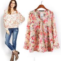za 2014 brand new women's European and American style fashion style V -neck shirt printing