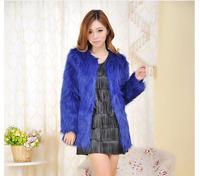 1pc/lot 2014 new women winter faux fox fur coats mid long design or short design solid color black/blue/red/white plug size xxl