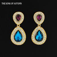Latest European and American Fashion Color Crystal Earrings Elegant Rhinestone Women Earrings