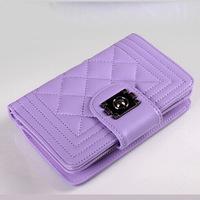 2014 autumn new women's classic plaid sheepskin leather short wallets,lady purse elegent wallets royal blue purse