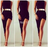 New Sexy Asymmetrical Draped High Neck Dress  Summer Fashion 2014  Split Irregular Slim Bandage Bodycon Maxi Long Dress
