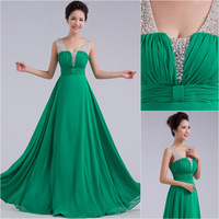 Sexy V Neck Green Long Bridesmaid Dresses Beading Chiffon A Line Prom Dresses Gown Custom US Size 2 4 6 8 10 12 14 16 18 20 DAMI