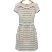 free shipping Women Summer New Organza Stripe Slim Belt Short Sleeve Round Neck Dresses