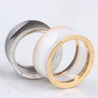 Luxury Black/White Ceramic Whorl Rings/anel,Rose Gold /Platinum Plated Stainless steel Brand Bulgary letters Women / Men Jewelry