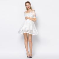 YIGELILA 6684 Latest Women New White Striped Slash Neck Cocktail Dress Free Shipping
