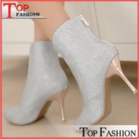 Big size New 2014 Autumn winter boots Women shoes high heels Sapatos femininos Pointed toe Glitter Zipper Fashion Sexy QA3312