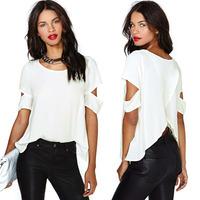 2015 Women Fashion Chiffon Blouse Sexy Wrap Back Cutout Women Short Sleeves Crew Neck Casual Tops White
