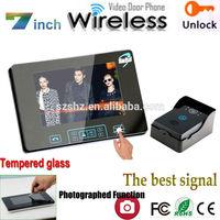 "The best signal Luxury touch key 2.4GHz 7"" Wireless video door phone intercom doorbell camera with tamper alarm"