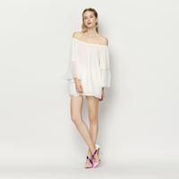 YIGELILA 7214 Latest New Women White Slash Neck Flare Sleeve Chiffon Shirt Free Shipping