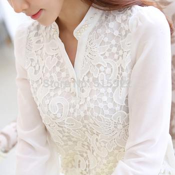 2015 новое поступление кружева блузка бисером крючком белый с длинным рукавом шифон ...