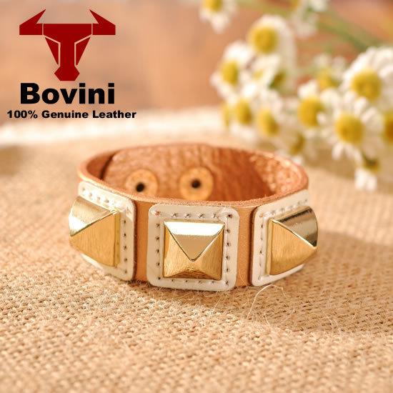 New 2014 Designer Women Bracelet Cowhide Genuine Leather Metal Alloy Gold Rivet Khaki Red Gray Bangles Shamballa Bracelet(China (Mainland))