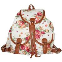 Floral Printing Canvas Bucket Backpack Big School Bags For Women Sling Tassel Backpacks Women Vintage Casual Daily Backpack 2014