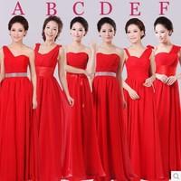2014 new bridesmaid dress wedding dress red long section wedding shoulder evening dress H1Z0 Custom Made (Bandage back)