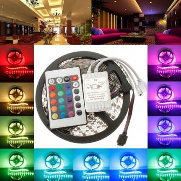Free Shipping 3528 RGB led strip light 5M 300SMD led stripe 24keys SMD IR Remote Controller 5050 led stripe rgb(China (Mainland))