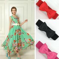2014 New 1PCS 66cm Fashion wide elastic belt for women 5 Candy kinds Graceful Bowknot Elastic Cummerbund Hot Sale ay871024